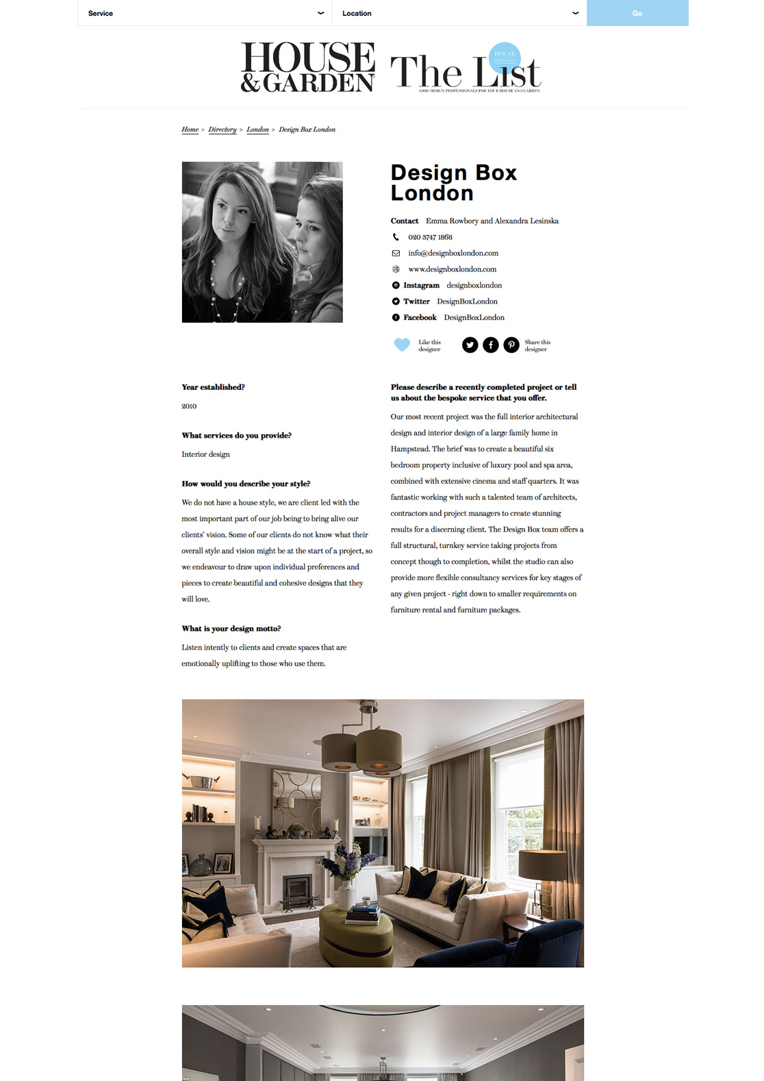 Press design box london luxury interior design services - The interiorlist ...