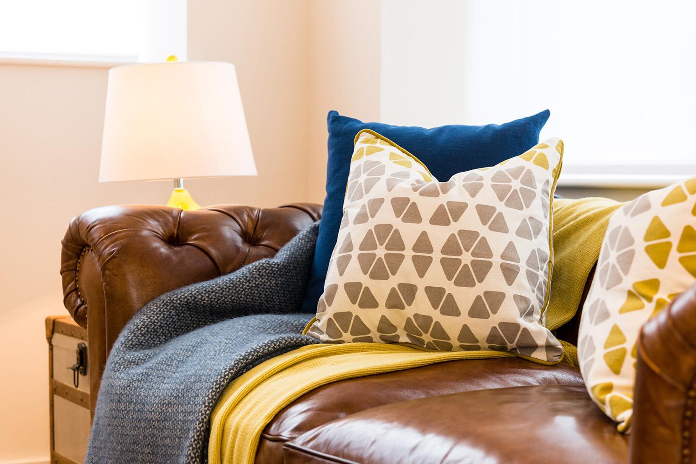 Design Box London - Interior Design - Camden Loft 2 - Sitting Room Sofa Cushion Closeup